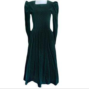 Laura Ashley Green Corduroy Prairie Dress